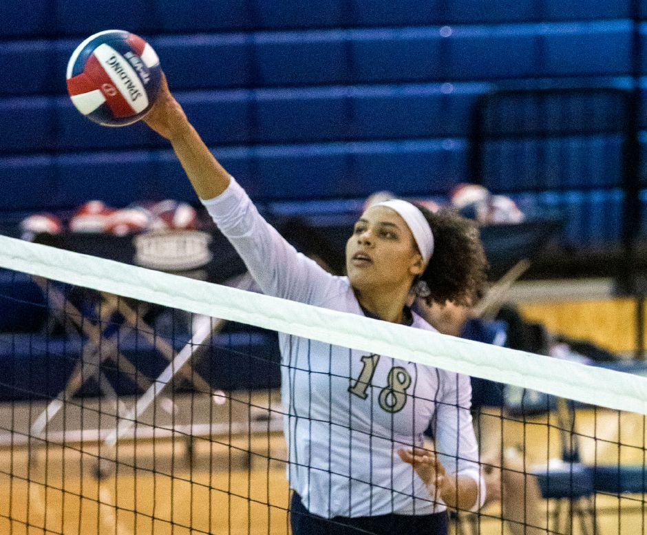 Aaliyah Burnley put down 20 kills in Platt's second-round upset Thursday of No. 4 Naugatuck in the CIAC Class L girls volleyball tournament. | Aaron Flaum, Record-Journal