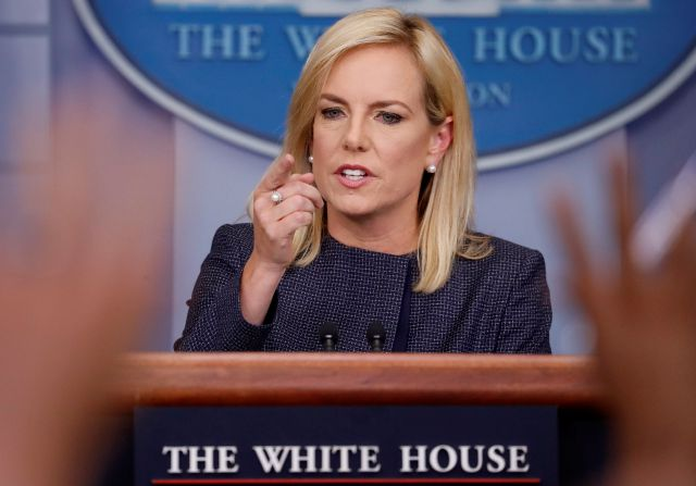 In this June 18, 2018 photo, Homeland Security Secretary Kirstjen Nielsen speak to the media during the daily briefing in the Brady Press Briefing Room of the White House. Nielsen is drafting an executive action for President Donald Trump that would direct DHS to keep families apprehended at the border together during detention. That