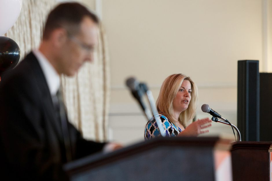 Executive Vice President Liz White and Sports Editor Bryant Carpenter welcome guests and athletes Sunday during the third annual Record-Journal Best of the Bunch Brunch Awards at the Aqua Turf Club in Plantsville June 24, 2018 | Justin Weekes / Special to the Record-Journal
