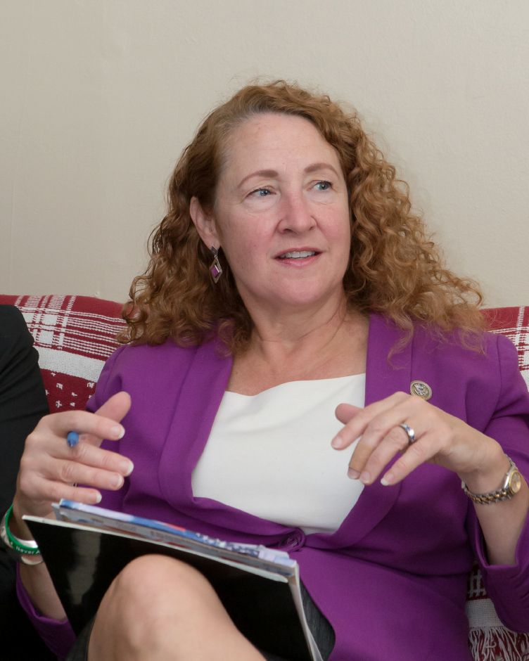 FILE PHOTO – Congresswoman Elizabeth H. Esty speaks to the Meriden Disaster Relief Committee Tuesday during a meeting at Casa Boricua in Meriden October 31, 2017 | Justin Weekes / For the Record-Journal
