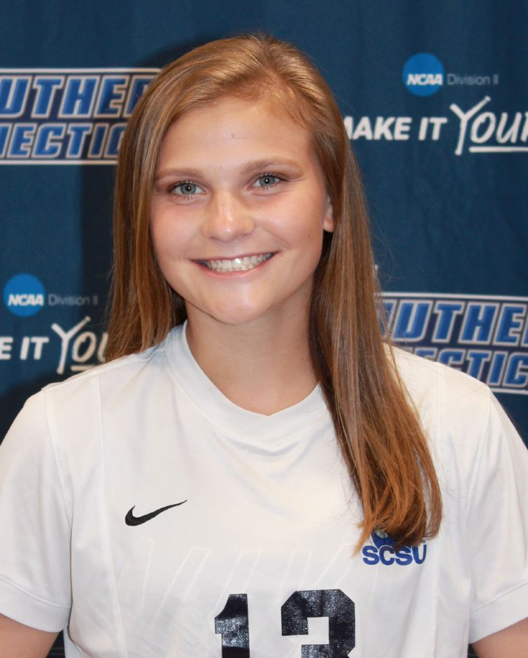 Sheehan grad Kelsey Burr, now a freshman at Southern Connecticut State, scored her first college goal Saturday, converting a penalty kicks in the Owls' 3-1 win over St. Michael's. | Photo courtesy of SCSU