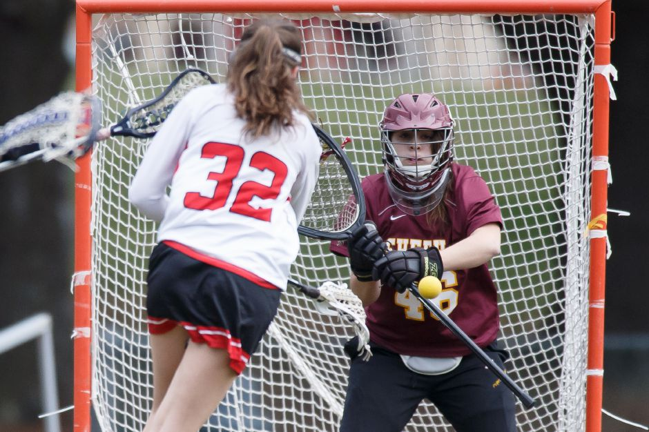 Kaitlin Mills and the Sheehan girls lacrosse team, the No. 6 seed in the SCC Tournament, knocked off No. 3 Branford 16-7 in the first round in Branford on Saturday night. | Justin Weekes / Special to the Record-Journal