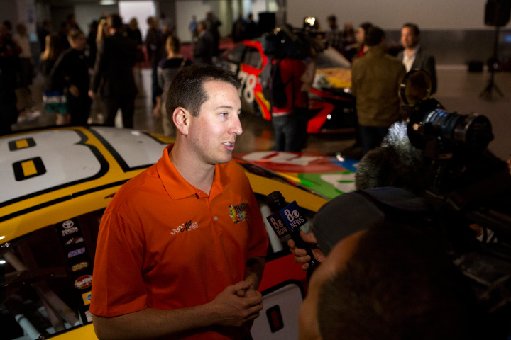 NASCAR driver Kyle Busch speaks to reporters Wednesday, March 8, 2017, in Las Vegas. Las Vegas Motor Speedway will host two top-tier NASCAR races beginning in 2018. The Las Vegas Convention and Visitors Authority board of directors approved a race sponsorship agreement with the track and parent company Speedway Motorsports Inc. on Wednesday, with this year