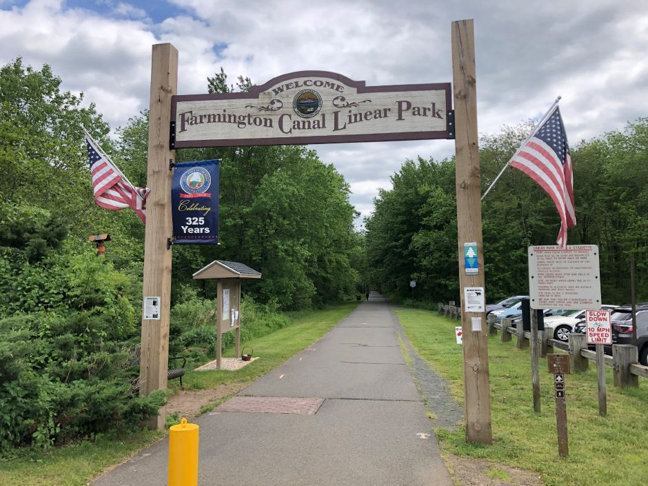 Cheshire entrance to the Farmington Canal Heritage trail. | Kristen Dearborn, Contributed