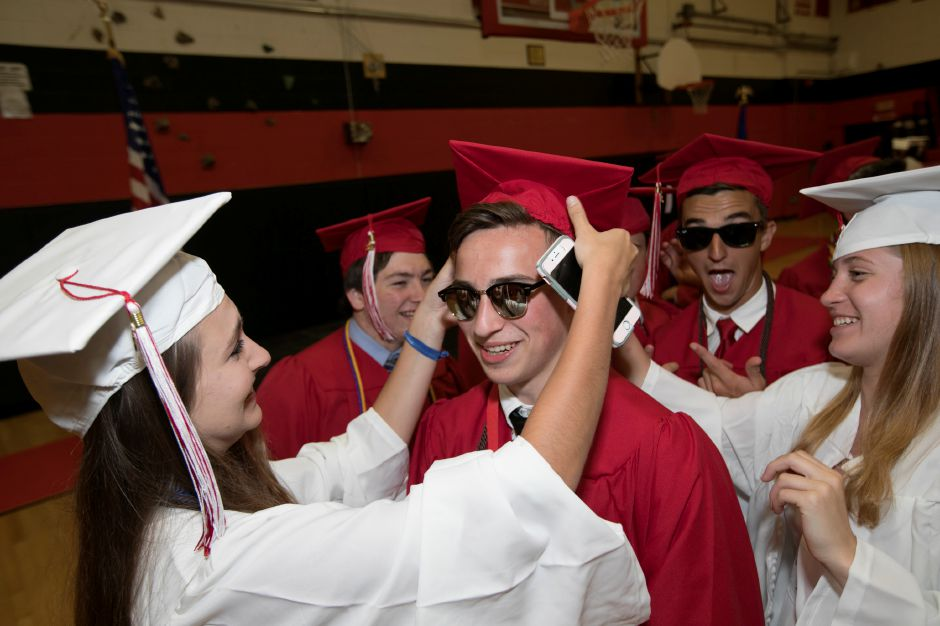 during graduation ceremonies at Cheshire High School, Wednesday, June 14, 2017. | Dave Zajac, Record-Journal