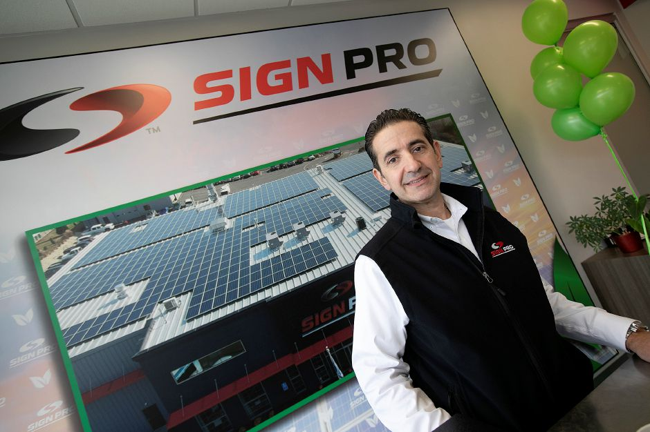 Peter Rappoccio, owner of Sign Pro in Southington, Wed., Nov 14, 2018. The business is now completely powered by solar energy. Dave Zajac, Record-Journal