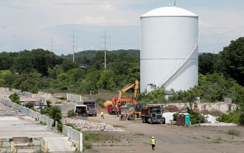Crews work on the former Pratt & Whitney site in North Haven, Friday, June 9, 2017. Online retailer Amazon plans to build a $255 million, 855,000-square-foot fulfillment center on property. | Dave Zajac, Record-Journal