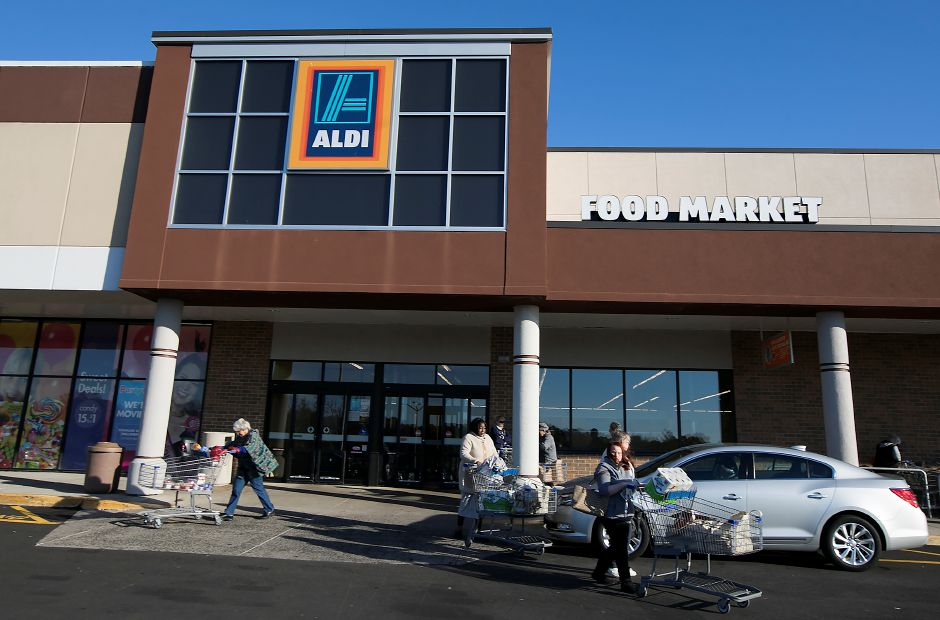Shoppers at the Aldi store at 1248 S. Broad St., Wallingford, on Friday.