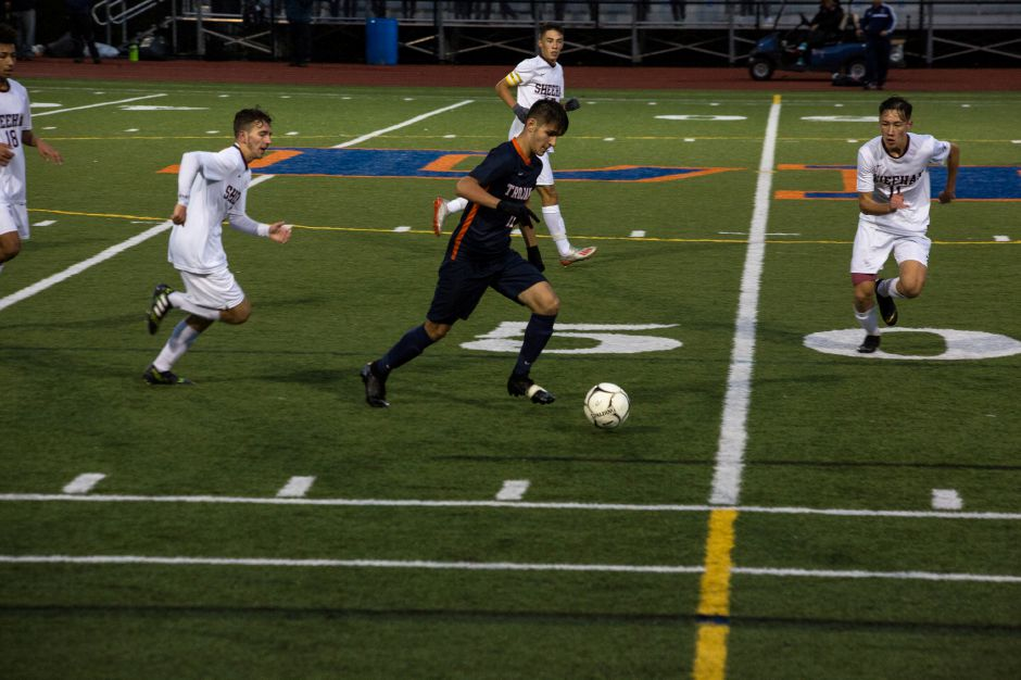 Declan Turbett and the Lyman Hall boys soccer team, seen here in action Wednesday against Sheehan, stopped Wilcox Tech's eight-game winning streak cold with a 6-0 non-conference victory Friday in Meriden. | Derek Torrellas / For the Record-Journal