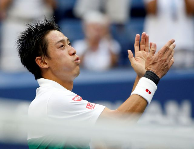 Kei Nishikori, of Japan, celebrates after defeating Marin Cilic, of Croatia, during the quarterfinals of the U.S. Open tennis tournament, Wednesday, Sept. 5, 2018, in New York. (AP Photo/Jason DeCrow)