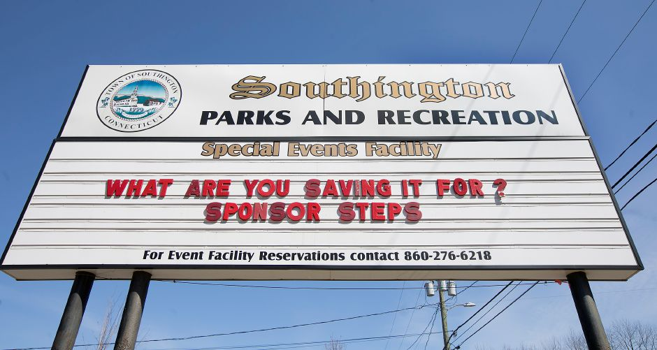 A Southington Parks and Recreation sign at the entrance to the Southington Drive-In on Meriden-Waterbury Turnpike in Southington, Monday, April 9, 2018. A replica of the old drive-in sign is in the works. Dave Zajac, Record-Journal