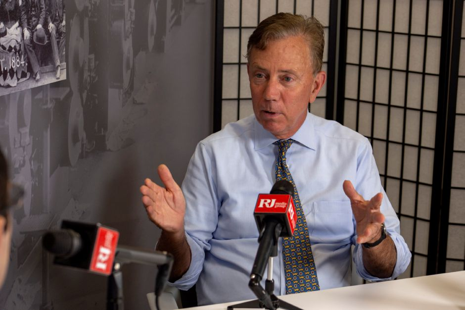 RJ file photo - Democrat Ned Lamont talks with Record-Journal editor Mike Savino about running for governor. | Richie Rathsack, Record-Journal