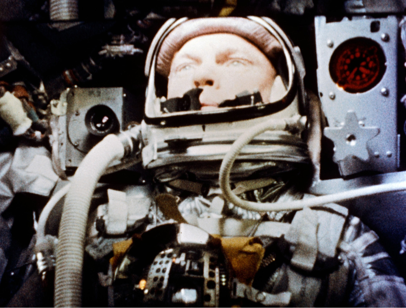 In this Feb. 20, 1962, photo, astronaut John Glenn pilots the Friendship 7 Mercury spacecraft during his flight as the first American to orbit the Earth.| NASA via AP