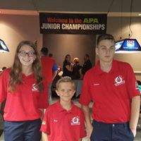 Three Southington residents participated in the American Poolplayers Association's Junior Championship at the Renaissance Hotel in St. Louis earlier this summer. From left to right are Taylor Johnson, Brian Marek and Cameron Johnson. | Photo courtesy of Sal Conti