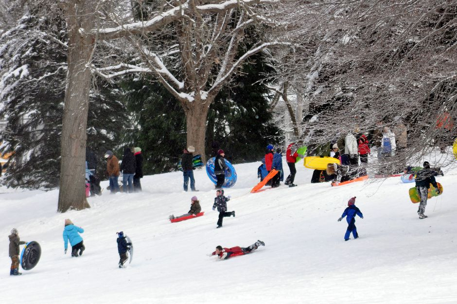 Wilcox Park in Westerly was filled with people sledding after a snow storm on Saturday.12-30-2012 photo by Christine Corrigan 1230 ws WILCOX PARK SNOW cc03