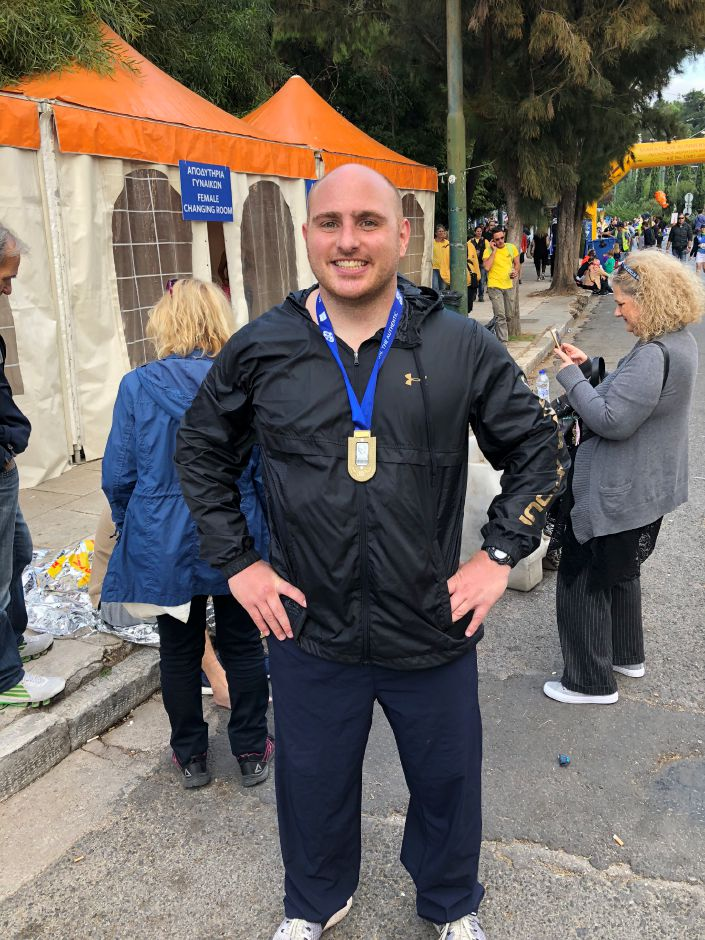 Meriden native Michael Pannone, a 2003 graduated of Maloney High School and a current employee of the U.S. Justice Department, competed in the 2018 Athens Marathon in November.  Photo courtesyof Michael Pannone