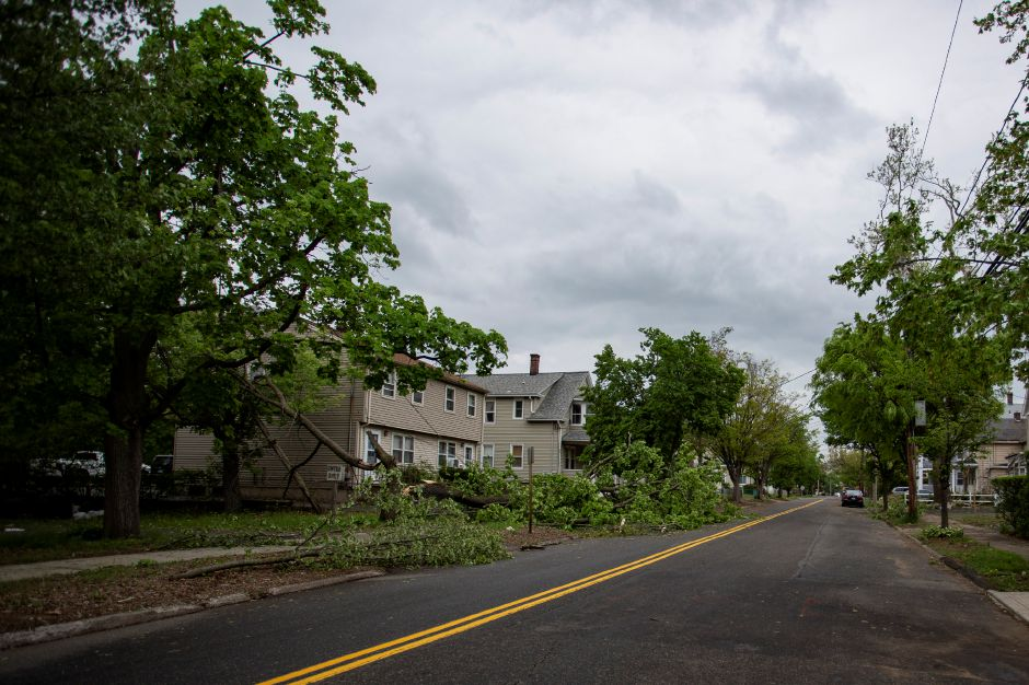 Tree limbs litter the side of roads like here on Washington Street in Wallingford, May 16, 2018. | Richie Rathsack, Record-Journal