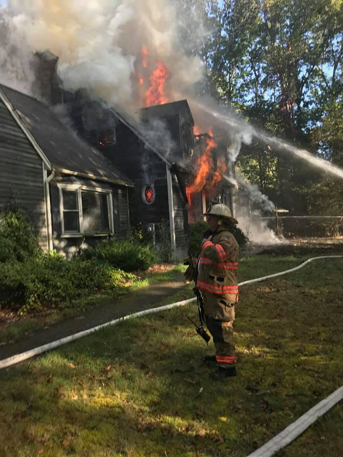 A fire destoyed a home at 35 Twin Oak Farm Road, on Tuesday. Wallingford. |Courtesy of Wallingford FD