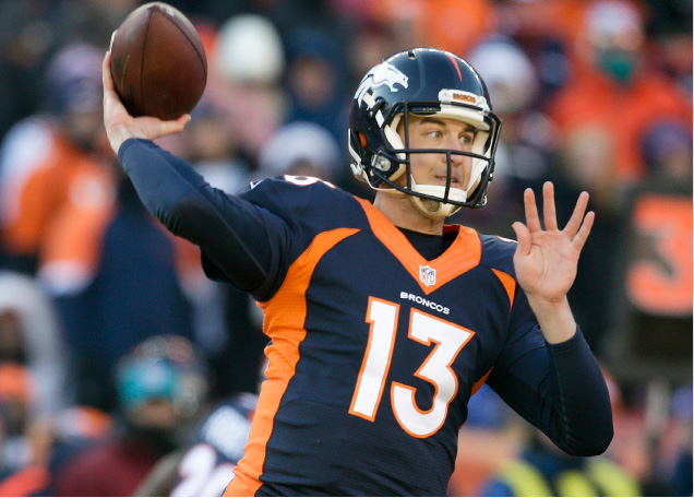 Denver Broncos quarterback Trevor Siemian passes against the New England Patriots during the first half of an NFL football game Sunday, Dec. 18, 2016, in Denver. (AP Photo/Joe Mahoney)