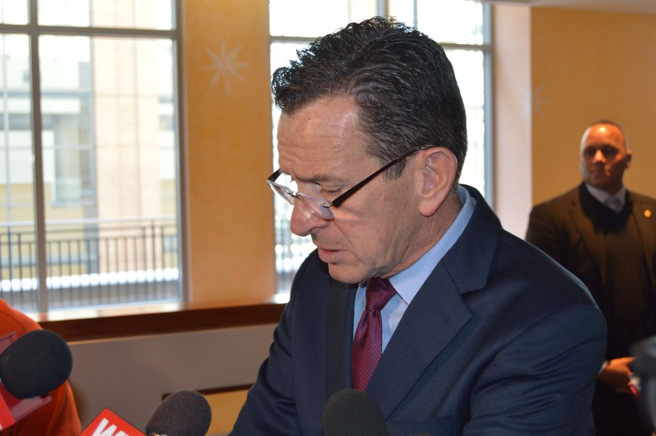 Gov. Dannel P. Malloy talks with reporters (file photo). | Mike Savino, Record-Journal