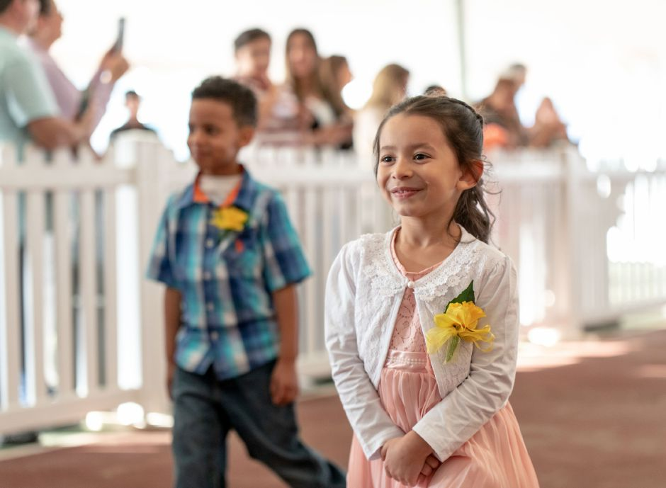 Gia Racine, 5, of Casmir Pulaski Elementary School, was one of 9 Meriden girls in the running to be crowned Miss Daffodil on April 24, 2019. The selectee will lead the Meriden Daffodil Festival Parade on April 27. | Devin Leith-Yessian/Record-Journal