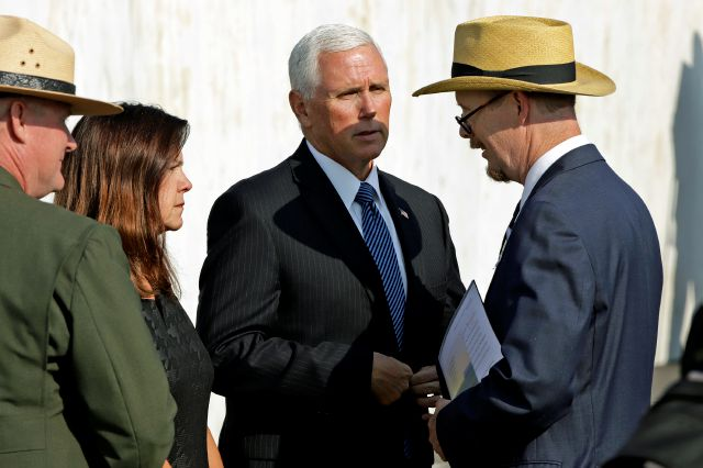 Vice President Mike Pence, center, and second lady Karen Pence, second from left, meet with President of Families of Flight 93, Gordon Felt, right, as they arrive for the September 11th Flight 93 Memorial Service at the Flight 93 National Memorial in Shanksville, Pa., Wednesday, Sept. 11, 2019, on the 18th anniversary of the attacks. Felt