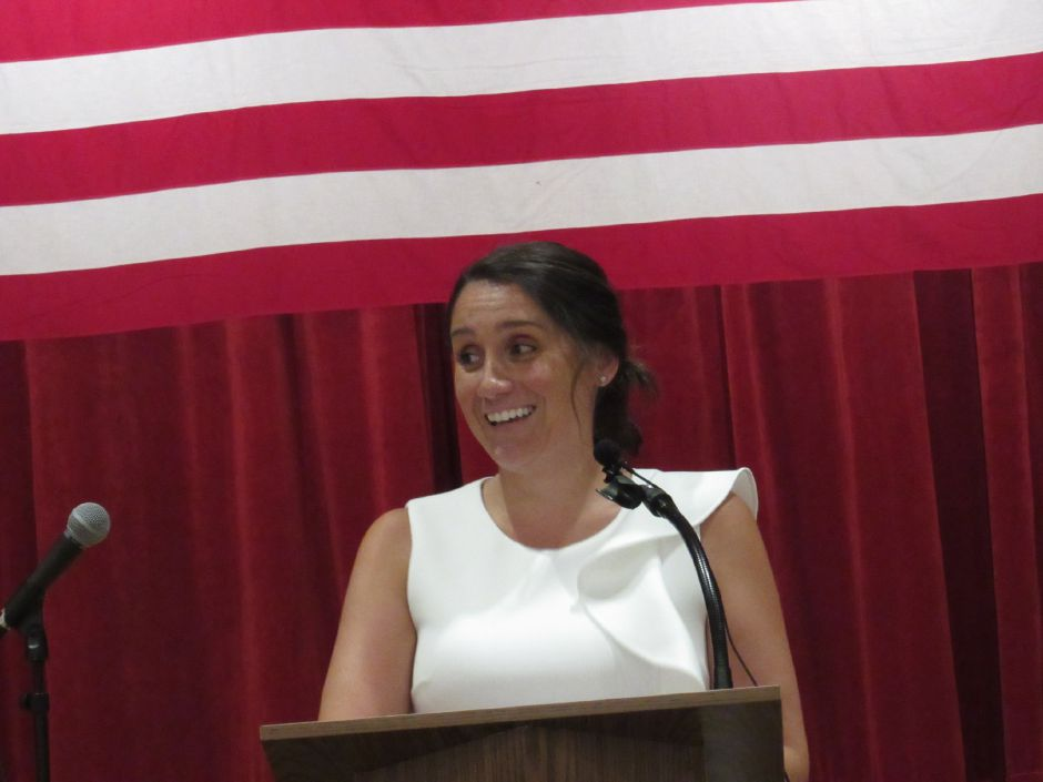 Christina Tatta, candidate for Town Council, at the Wallingford Republican Town Committee caucus at Dag Hammarskjold Middle School, July 17, 2019. | Lauren Takores