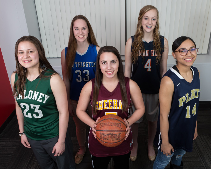 The inaugural All-Record-Journal girls basketball team. Front row, from left, Maloney's Melanie Polanco, Sheehan's Lexi Ocasio and Platt's Jasmin Mitchell. Back row, from left, Southington's Janette Wadolowski and Lyman Hall's Reilly Campbell. | Justin Weekes / For the Record-Journal