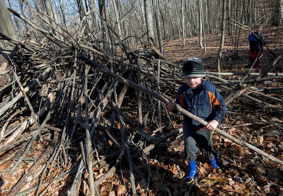 Moses Y. Beach Elementary School kindergarten student Daniel Frank, 5, explores a stick den during the Kinderwoods program at Kohler Environmental Center in Wallingford, Thursday, Dec. 7, 2017. Dave Zajac, Record-Journal