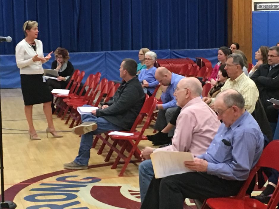 Superintendent Kathryn Veronesi talks building and grade configuration options being considered by Regional School District 13 at a community information session at Strong School on Wednesday, April 25, 2018. | Lauren Takores, Record-Journal