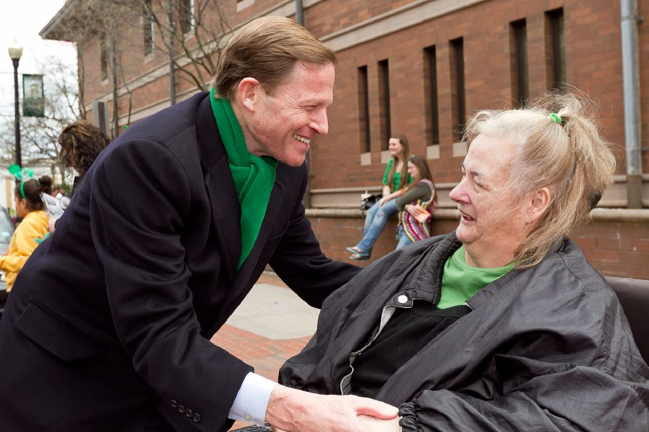 U.S. Sen. Richard Blumenthal greets Marsha Rabdall of Meriden at the St. Patrick