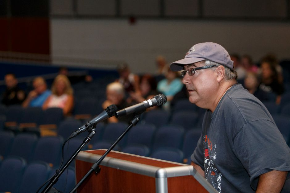 Meriden resident Steven Cardillo Thursday during a public hearing with the Meriden Finance Committee to speak about the tax increase at Lincoln Middle School in Meriden August 9, 2018 | Justin Weekes / Special to the Record-Journal