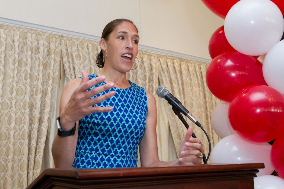 Keynote speaker Rebecca Lobo recalls a time jogging with President Clinton during her speech Sunday during the 2nd Annual Record Journal Best of the Bunch Brunch at the Aqua Turf Club in Plantsville Jun. 25, 2017 | Justin Weekes / For the Record-Journal