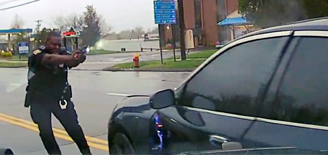 Police Officer Layau Eulizier points his weapon at a car being driven at him by Anthony Jose Vega Cruz during an attempted traffic stop on April 20 in Wethersfield. Eulizier shot through the windshield, striking Vega Cruz, of Wethersfield, who died two days later at a hospital. Hartford State's Attorney via Associated Press
