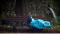 A homeless man lays on a bench on Historic River Street on Monday, Sept., 11, 2017, in Savannah, Ga., as Hurricane Irma starts to impact the area. (AP Photo/Stephen B. Morton)