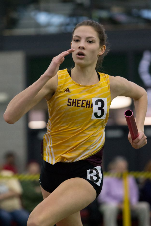 Sheehan sprinter Julia Mansfield set indoor track program records in the 200 meters and as part of the 4x200 relays in meets this week at the Floyd Little Athletic Center in New Haven. | Justin Weekes / Special to the Record-Journal