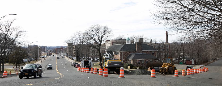 "Crews from LaRosa Construction Co. work at the intersection of Pratt Street, left, and Camp Street, right, in Meriden, Monday, February 26, 2018. The 2.7 million project will transform Pratt Street into a boulevard-style ""gateway"" to the downtown. Dave Zajac, Record-Journal"