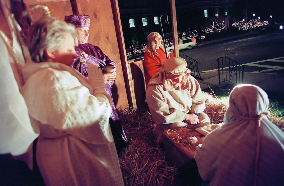 RJ file photo - The First United Methodist Church in Meriden presented their 19th annual Living Creche Dec. 21, 1998. From left are Donna Timm as the angel, Mike Taylor as one of the three kings, Phyllis Timm as a shepherd, Seth Pitts as Joseph and Joline Timm as Mary.