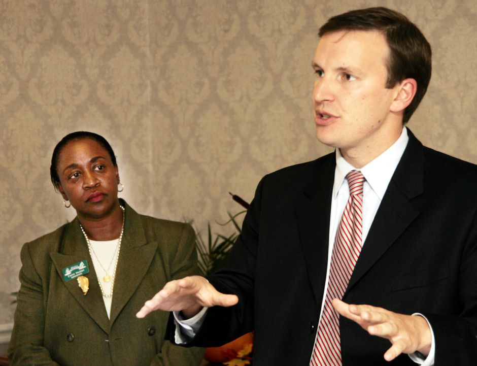 Chris Murphy at Westfield Care and Rehab Center Fri., Oct. 20 with Elaine Madden, left, administrator.