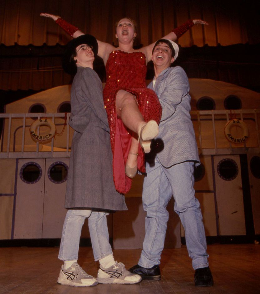 "RJ file photo - David Burr, Meghan Hatch and David Siedzik rehearse for ""Anything Goes"" to be performed at Maloney High School, March 1994."