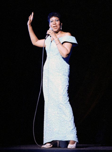 FILE - In this July 5, 1989 file photo, Aretha Franklin performs at New York