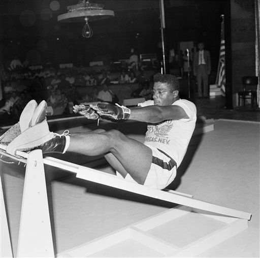 Floyd Patterson, who meets champion Cassius Clay the night of November 22 in Las Vegas, Nevada in a heavyweight championship battle, works out at his training headquarters in the Hotel Thunderbird in Las Vegas, Nevada Oct. 25, 1965. Patterson is expected to train at the hotel until two days before he fights Clay, hoping to regain the heavyweight crown. (AP Photo/Harold Filan)