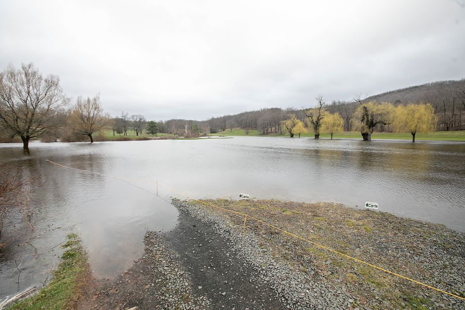 Between 3 and 4 inches of rain fell in the area on April 16, closing roads and keeping local firefighters busy. Hunter Golf Club in Meriden flooded during the storm.