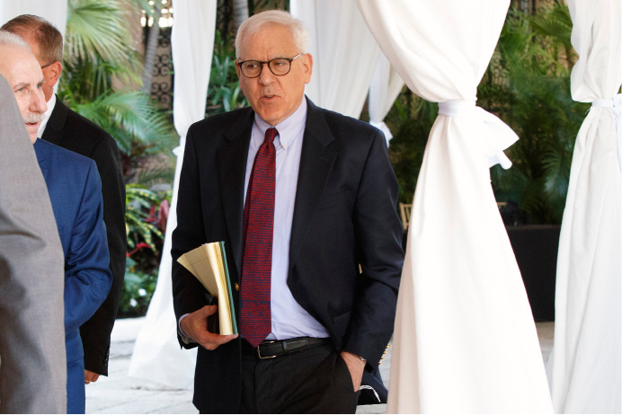 The Carlyle Group co-CEO and co-Founder David Rubenstein arrives at Mar-a-Lago for meetings with President-elect Donald Trump and his transition team, Wednesday, Dec. 28, 2016, in Palm Beach, Fla. (AP Photo/Evan Vucci)
