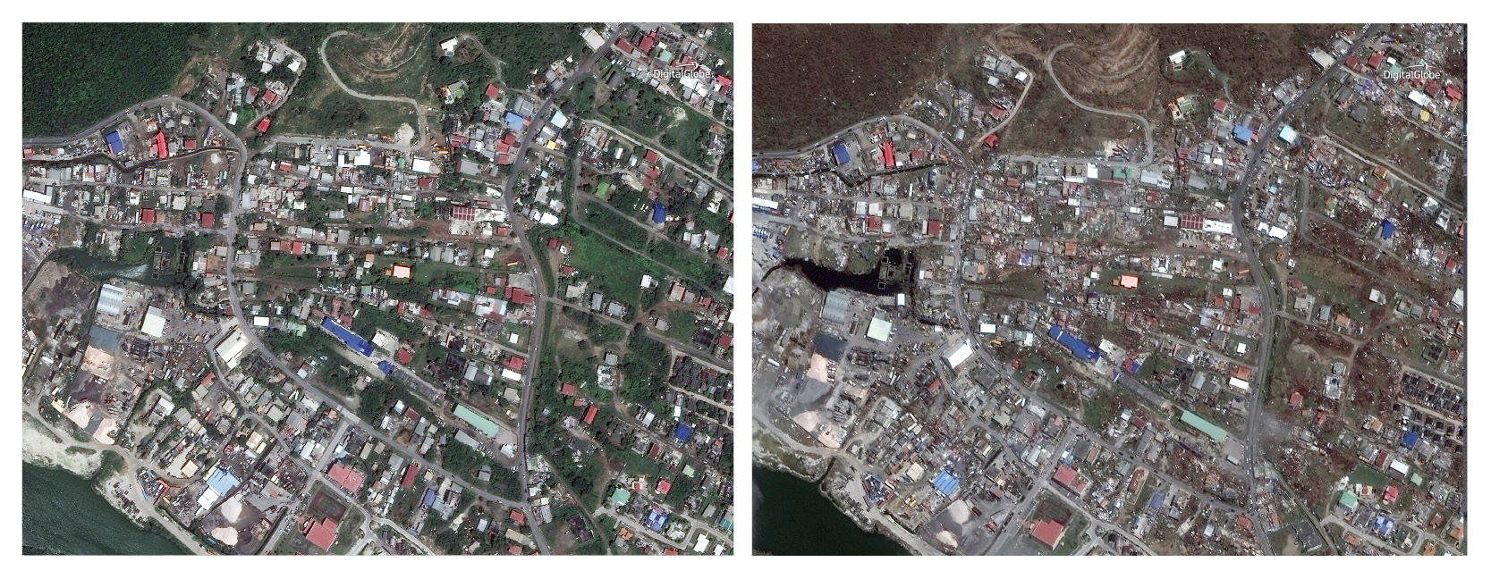 This combination of satellite images provided by DigitalGlobe shows Philipsburg, Sint Maarten on Aug. 25, 2016, and Monday, Sept. 11, 2017, after Hurricane Irma. Irma cut a path of devastation across the northern Caribbean, leaving thousands homeless after destroying buildings and uprooting trees. The island known as St. Martin in English is divided between French Saint-Martin and Dutch Sint Maarten. (DigitalGlobe via AP)