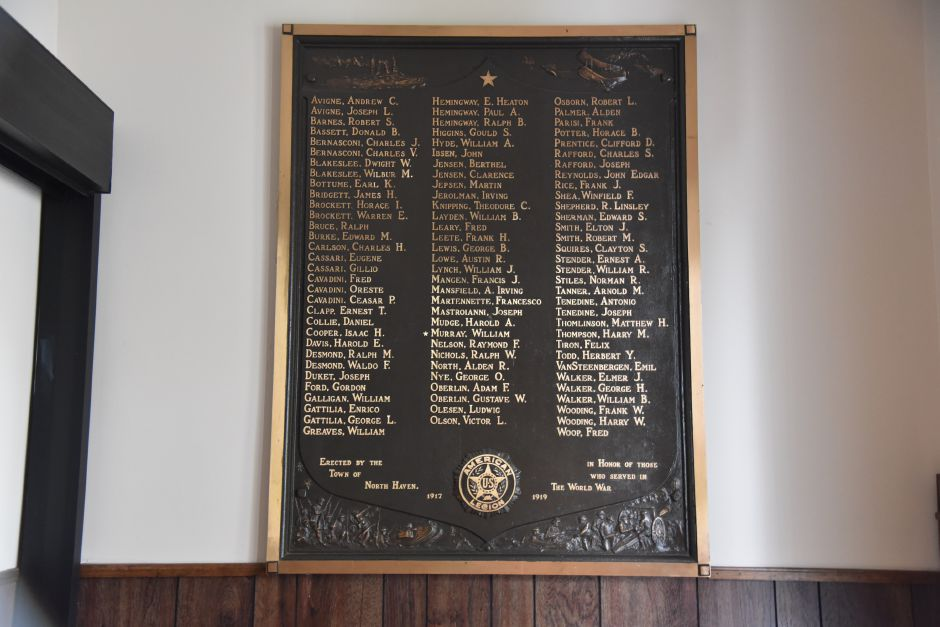 The World War I plaque honoring North Haven veterans in the town hall on Oct. 15, 2018. | Bailey Wright, Record-Journal