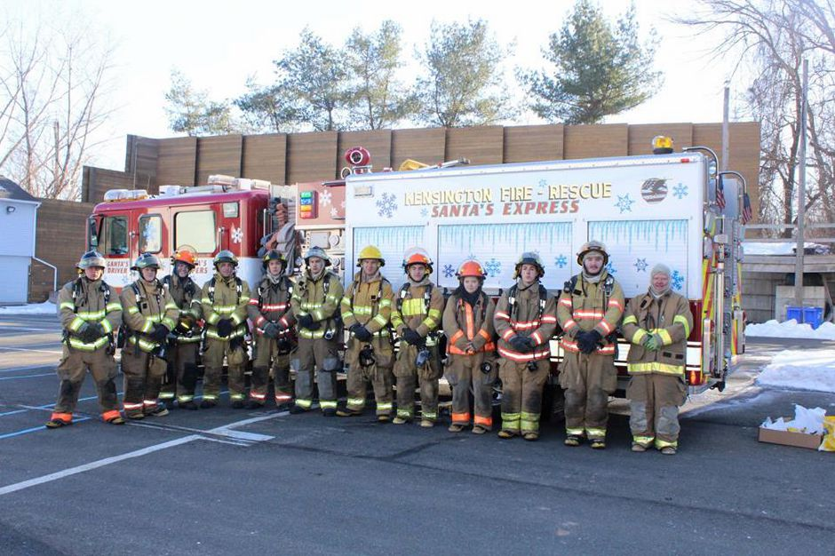 Members of East Berlin, Berlin and Kensington fire companies accompanied students from the Berlin High School Fire Fighting Class to the Newington Fire Dept. training tower, Dec. 2016. |Courtesy of Berlin FD