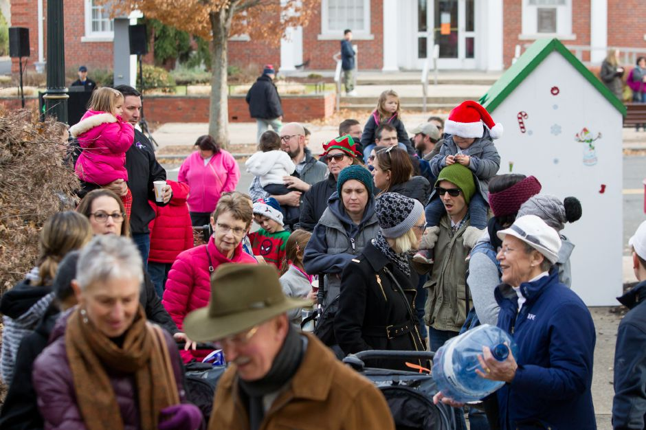 Crowds stand in line to see Santa and Mrs. Claus Saturday during Season of Celebration at the Town Hall in Wallingford December 2, 2017 | Justin Weekes / For the Record-Journal