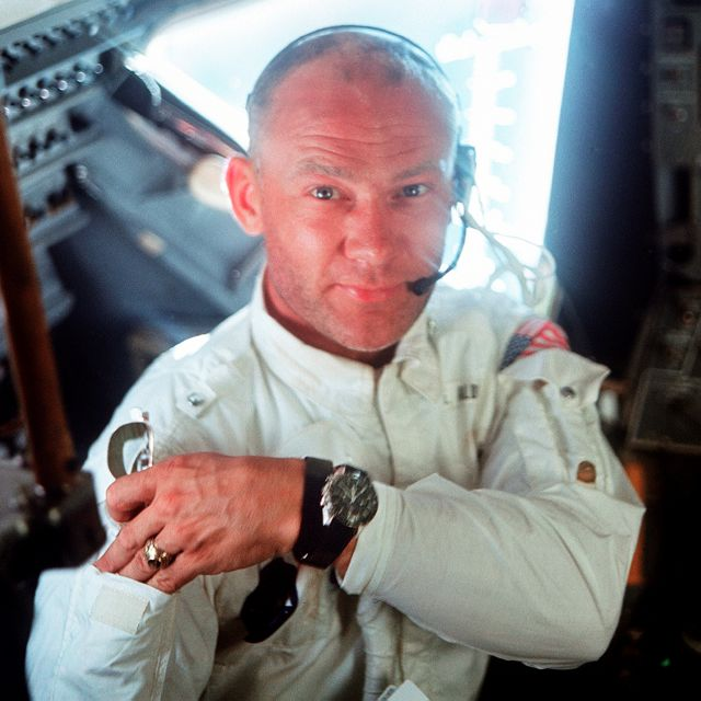 "This July 20, 1969 photo made available by NASA shows pilot Edwin ""Buzz"" Aldrin in the Apollo 11 Lunar Module. For the 50th anniversary of the landing, Omega issued a limited edition Speedmaster watch, a tribute to the one that Aldrin wore to the moon. (Neil Armstrong/NASA via AP)"