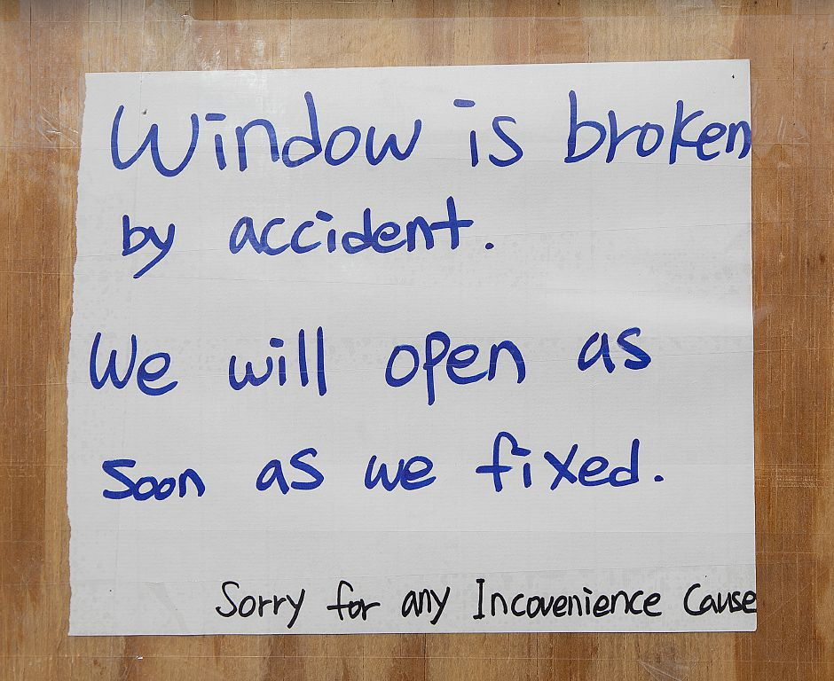 A sign posted for customers by Jenny Rhee, owner of Sun Nails Salon, 826 E. Center St., Wallingford, Thurs., Mar. 14, 2019. A vehicle crashed into the nail salon Thursday morning, significantly damaging the storefront. Dave Zajac, Record-Journal